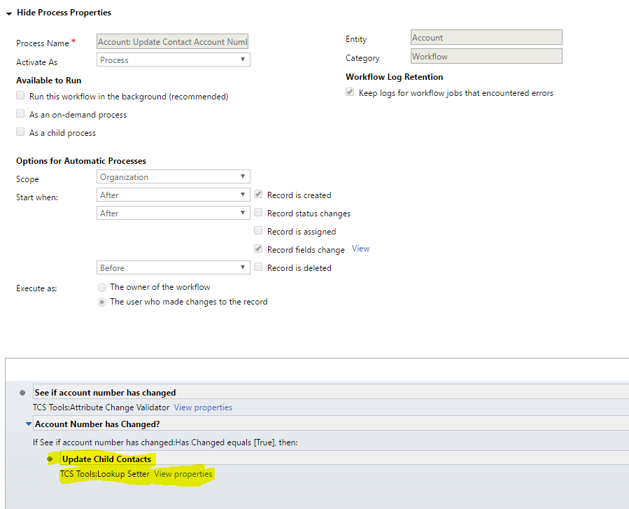Dynamics CRM (TCS Tools): Use a workflow to update related