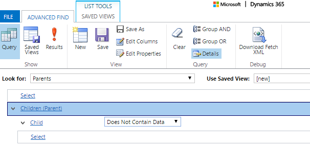 Dynamics 365: Can't find all parent records that have no