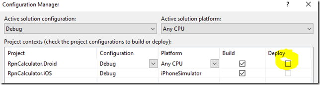 Xamarin: Project not selected to build for this solution