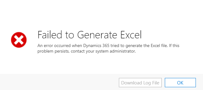 Failed to Generate Excel: An error occurred - Microsoft